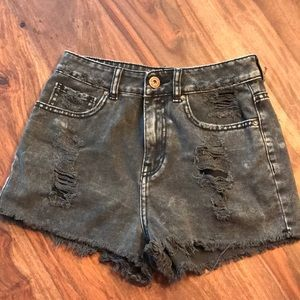 Black distressed Bullhead Denim MOM SHORTS